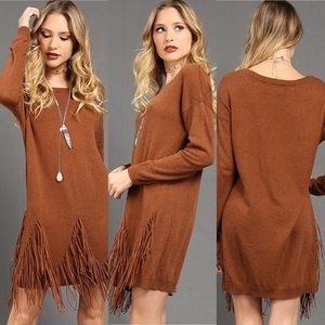Fashion House Faux Suede Fringe Sweater Dress